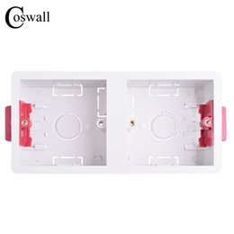 casella 86 Sconti Coswall 86 Tipo 2 Gang Dry Lining Box per cartongesso Plasterboad Drywall 35mm Depth Wall Wall Switch BOX Wall Socket Cassette