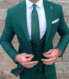 2019 contrasto abito bianco da sposa New Dark Green Abiti da sposa per uomo Peak Collar Slim Fit (Jacket + Vest + Pants) Custom Made Wedding Groom Prom Smoking Tute