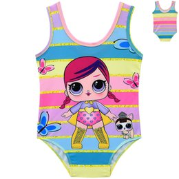 2019 bains d'été pour bébés Les filles de bande dessinée poupée maillot de bain mignonne princesse One-Pieces maillot de bain été bambin arc-en-ciel maillot de bain mode bébé Beachwear TTA898 bains d'été pour bébés pas cher