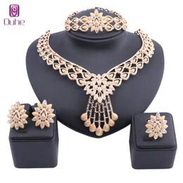 африканский кристалл бисер колье комплект Скидка Dubai Wedding Bridal Crystal Jewelry Sets For Women Necklace Bangle Earring Ring Gold Color African  Statement Accessories