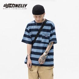 magliette in tee originali Sconti uomini e donne estate versione coreana TEE di ulzang originale stile classico retrò a righe girocollo maniche larghe T-shirt top
