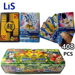 tarjeta z Rebajas 408 unids / lote Dragon Ball Z Super Saiyan Goku Vegeta Freeza Colección de Tarjetas de Juego Dragon Ball Z Figuras de Acción de Juguete de Regalo para Niños