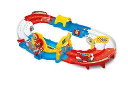 Brinquedos antigos on-line-Drag mas elétrica pequena faixa de trem conjunto de quebra-cabeça grandes partículas blocos de construção 4 carros 3-6 anos de idade brinquedos meninos crianças