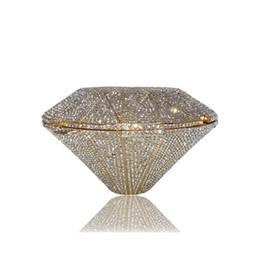 Garrafas de festa de casamento on-line-Sacos das mulheres O diamante forma Liga Bolsa de Noite Cristais Padrão Geométrico de Ouro / Festa de Casamento De Prata saco de Embreagem Bolsa Bolsa