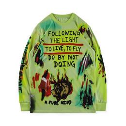 Camisetas pintadas a mano online-Camiseta Wes Lang Wyoming pintada a mano sobre una camiseta larga de manga larga y gruesa