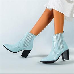 2019 fersen dicke knöchel Europa-Art-Gingham-Leder-Frauen Ankle Boot Mode Spitzschuh Schuh Thick High Heels Booties Sexy Party-Schuhe rabatt fersen dicke knöchel