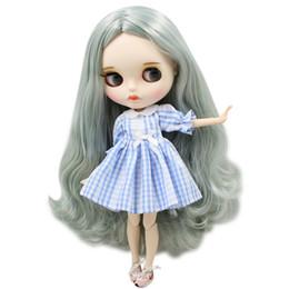 ICY Nude Blyth Doll For No.BL9084 / 4278 Grigio mix Capelli verdi Labbra intagliate Mate face con sopracciglio personalizzato viso Joint body 1 / 6bjd da