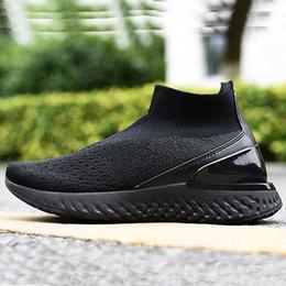 Botas altas online-2019 Rise Reaccionar a medio punto transpirable Top calcetín Botas Rise Reaccionar de punto elástico de alta tecnología de la burbuja de amortiguación de los zapatos ocasionales 36-45