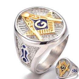 anello massonico oro Sconti Vintage Stainless Steel Blue massonico Totem Anello di Uomini Liberi Muratori Symbol G Templari Massoneria Uomini Anelli di oro Lettera A Ring