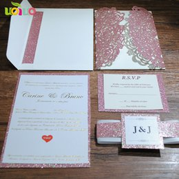 2019 super tarjeta de oro Tarjeta de invitación de boda de papel con brillo de oro rosa súper elegante cortada con láser hot selll personaliza la tarjeta de boda real para rebajas super tarjeta de oro