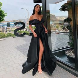 2019 vestido de tirantes de lycra 2020 vestidos formales de baile fuera del hombro de alta raja del lado de longitud de Vestidos para ocasiones árabe Mujeres del partido de igualación largo moderno más nuevos