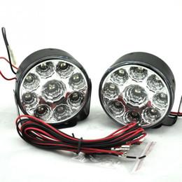 Faróis de neblina on-line-2PCS Branco brilhante 9W LED Rodada Dia nevoeiro Head Lamp Car Auto DRL condução diurnas DRL Car Fog Lamp Farol
