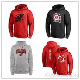 Hoody rosso diavolo online-New Jersey Devils Fanatics Branded Black Ash Red Grey Logo principale Pullover Felpe con cappuccio da uomo manica lunga Outdoor Wear Giacche Sport Hoody