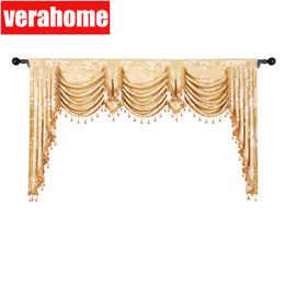 estores estilo casa Desconto Europeu saia Real pelmet Luxo Jacquard cantoneiras de janela cortinas blackout para sala de estar