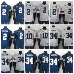 Auburn fútbol online-Auburn Tigers jerseys 10 Patrick Nix Jersey 34 Bo Jackson 2 Cam Newton NCAA 2019 Azul Blanco balompié Jersey cosido
