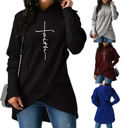 Faith Letter Print Asymmetric Hem Fleece Lining long sleeves Casual Loose Pullover Sweatshirts Hooded Tops Fashion Women Hoodie от Поставщики зимние платья из шерстяной вышивки