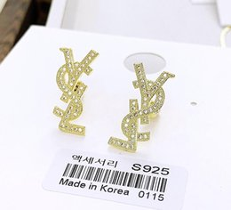 Argentina Joyería coreana Dongdaemun nuevo micro-set letras grandes pendientes chapados en oro de 18 quilates pendientes plata aguja hembra cheap 18k korean jewelry sets Suministro