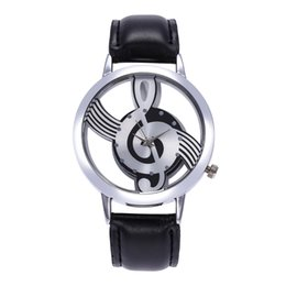 Женские кожаные наручные часы онлайн-Montre femme 2019 Women Leather Band Stainless Steel Musical symbol Clock Watch Hot Selling Simple Casual Ladies Dress Watches