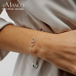 2019 простой круглый браслет e-Manco стерлингового серебра 925 браслеты простой двойной круг Дружба браслет браслеты для женщин два цвета изысканные ювелирные изделия подарки скидка простой круглый браслет