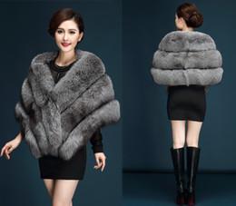 Donne cappotti di volpe d'argento online-Le donne inverno nuovo modo di pelliccia soprabito Faux cappotti cappotto caldo Plus Size Silver Fox Fur Coat