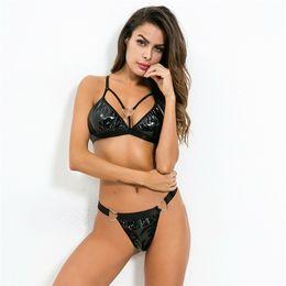 2019 lancette in lattice Sexy Women wetlook PU Leather Lingerie Body Costumi body erotici Set di reggiseno flessibile in lattice di gomma flessibile in lattice lancette in lattice economici