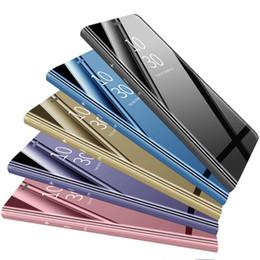 Canada Étui portefeuille de luxe en verre transparent avec clapet pour Iphone XR XS MAX X Galaxy S10 Lite S9 Note 9 8 S8 Flip en placage de cuir métallisé chromé Offre
