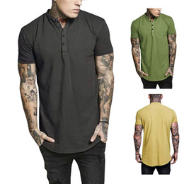 joker t shirt mens Coupons - Mens Designer T Shirts Joker Cotton O-neck With Button Solid Thin Slim Fit Comfortable To Wear Summer Short Sleeve
