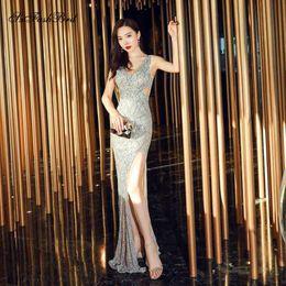 Robe Soiree Femme Longue V Neck Open Back Vestidos Largos De Fiesta De Noche Long Women Sequins Formal Party Prom Dresses Gown