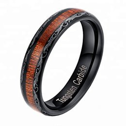 Бижутерия обручальные кольца онлайн-уплотнительное кольцо из карбида вольфрама 5 мм группа инкрустация деревом Comfort Fit кольцо комплект бижутерии