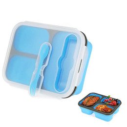 Silicone Portable Pliable Micro-ondes Lunch Box Trois grille Lunch box-thermos Pliant lunch box set Food Container LX1396 ? partir de fabricateur