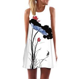 Винтажная пляжная живопись онлайн-Новое прибытие женщины одеваются плюс размер Vintage Boho стиль рисования чернилами Летний пляж без рукавов мини-платье vestido curto #yl