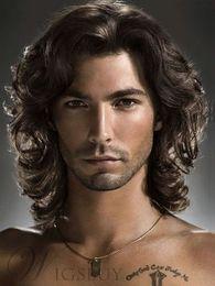 Pelucas cortas de color marrón rizado online-Hombres calientes de moda corto marrón ondulado pelo rizado guapo Cosplay masculino partido peluca llena