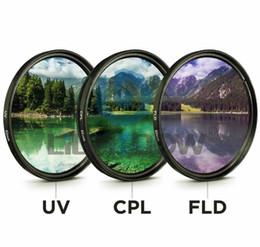 lente da câmera para pentax Desconto 49 MM 52 MM 55 MM 58 MM 62 MM 67 MM 72 MM 77 MM UV + CPL + FLD 3 em 1 Lente filtro com bolsa para canon nikon sony lente da câmera pentax