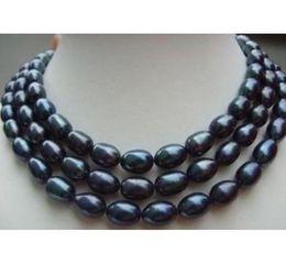 chiusura in oro nero perla Sconti Collana di perle da 49 pollici con perle 11-13mm Collana di perle barocche nere del Mare del Sud 14k Chiusura in oro