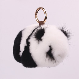 2019 подарки для кроликов rex Rex  Fur Panda Keychain Mink Panda Jewelry Plush Fur Bag Pendant Hanging  Keychain Pom Pom Keychains Gifts for Men дешево подарки для кроликов rex