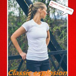 Blusas de spandex online-Blusas Yoga mujeres de secado rápido Ejercicio camiseta del paño de la aptitud de la manga corta con cuello lulu yoga estilo clásico equipa la venta de mí Cerca de yoga ropa