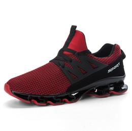 2019 zapatillas de hoja 2019 versión coreana de los nuevos zapatos ligeros para correr para hombres, con una superficie de red, tejido transpirable, mosca, zapatos casuales con calidad superior rebajas zapatillas de hoja