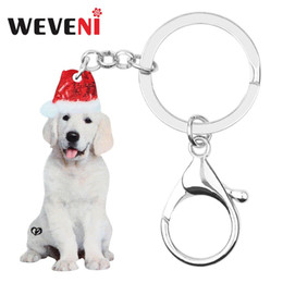 hat keychains wholesale Coupons - WEVENI Acrylic Christmas Hat Sitting Labrador Dog Key chains Key Rings Bag Car Purse Keychains For Women Girls Decorations Gift