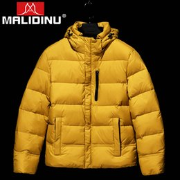 блестящие мужчины вниз пальто Скидка MALIDINU 2019 Duck Down Jacket Men Winter Down Coat  Thick Warm Winter Jacket Parka Men Shiny Windproof