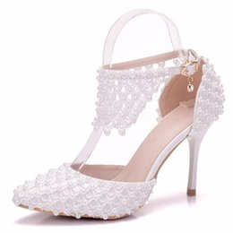 pearl wedding shoes 2019 - 2019 Spring New Fashion Pointe White Pearl Women  High Heels Shoes 413eeeea8a7f
