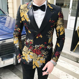 blazers patterns Promo Codes - Designer Men's Floral Blazer Fashion Men's Golden Tulip Pattern Print Blazer Jacket Double Breasted Wedding Slim