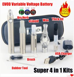 variable voltage vaporizer pen battery Coupons - Hottest eVod VV 4 in 1 vaporizer Thick Oil kit EVOD Variable Voltage Preheat Battery 510 vape cartridges dry herb dab pens wax pen vapes