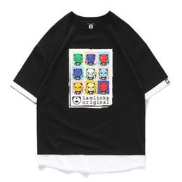 Pandabildhemd online-Original Street Fashion Cartoon Panda Print Rundhals Kurzarm Farbe gefälschte zweiteilige T-Shirt Jugend Männer und Frauen Liebhaber Herren Designer