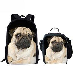 borse di pugni Sconti Personalizzato Kawaii School Bag Pug stampato scuola zaino per ragazze bambini Satchel Schoolbag bambini Baby Bags Bookbag Set matita