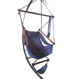 Silla azul cielo online-Bien equipado Gancho en forma de S Montaje de alta resistencia Asiento colgante Cacolet Silla de cuerda de color azul cielo Silla