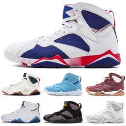 2019 scarpe 7e di lepre Di alta qualità Jumpman 7 7s Raptor Bordeaux Hare Tinker uomini alternativi scarpe da basket francese blu maglione UNC GMP Olympic Sneaker taglia 40-47 scarpe 7e di lepre economici
