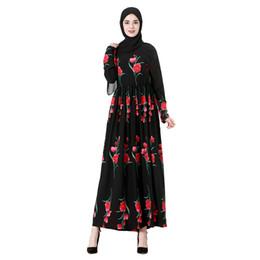 Canada Femmes Musulman Floral Imprimé Cocktail Robe À Manches Longues Islamique Abaya Femmes Rose Imprimé Robe Dubaï O-Cou Robe D'été G0412 # 20 Offre