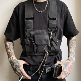 chalecos sin mangas para hombre de verano Rebajas Nuevo chaleco táctico Hombres Negro punky retro de la motocicleta chalecos para hombre de Hip Hop Bolsillos Chalecos Bundy Mochila High Street Tide