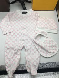Trajes de moda para niños pequeños online-Marca de moda para bebés niños niña mamelucos mono de algodón Tops + Hat 2pcs traje conjunto de ropa Newborn Toddler 0-24M niños ropa envío gratis