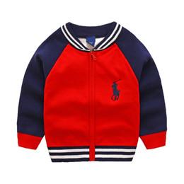 Camisola de pescoço alto de bebês on-line-Novas infantil Bebê da camisola roupa Top algodão de alta qualidade Crianças Casacos menina camisola Boy Sweater V-neck Sweaters Brasão